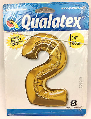 Qualatex Shiny Gold Metallic Birthday Balloon - Number 2 - 34