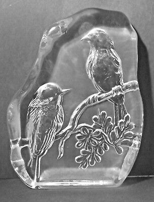 LARGE HEAVY CLEAR GLASS FROSTED BIRD SHELF SETTER OR PAPER WEIGHT