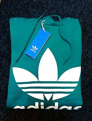 NEW Adidas Originals Men's Trefoil HOODIE Hooded Sweatshirt Jumper Green White