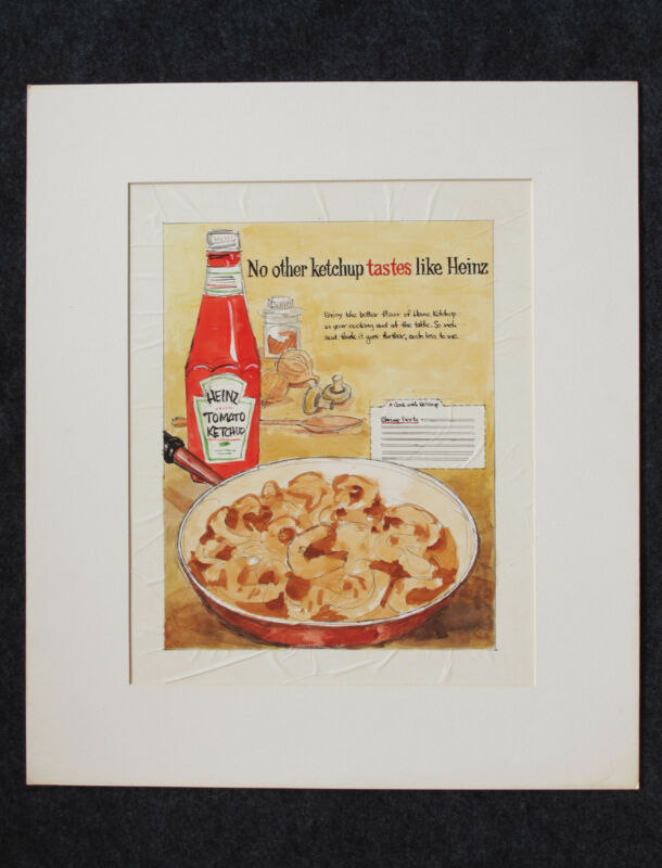 HEINZ KETCHUP ORIGINAL Advertising Art 1957 Watercolor Drawing Ad LIKE NO OTHER