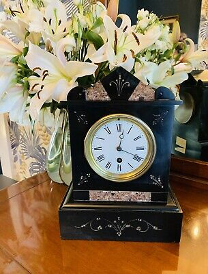Gorgeous Victorian Architectural Solid Marble French mantel Clock