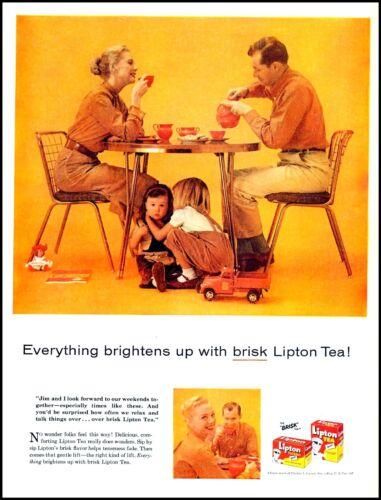 1957 Lipton tea couple children toys playing vintage photo Print Ad  (ADL11)
