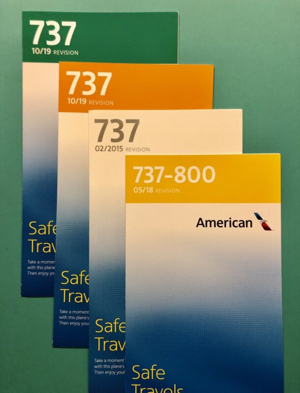 4 AMERICAN AIRLINES SAFETY CARDS --737