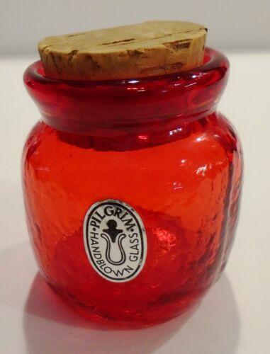 Red Crackle PILGRIM GLASS Stopper Spice Ginger JAR Fenton With Sticker