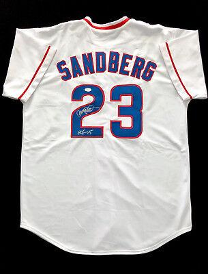 Ryne Sandberg Cubs Signed Autograph White Throwback Baseball Jersey JSA COA Autographed White Throwback Jersey