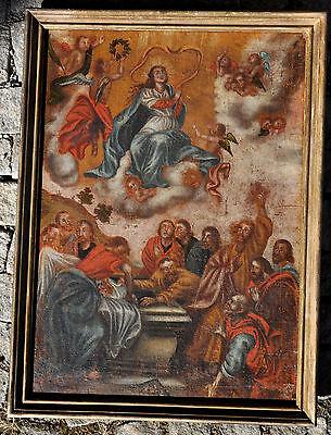"""Ölgemälde """"Maria Himmelfahrt"""", auf Leinwand, 18. Jh., restaurierungsbedürftig"""