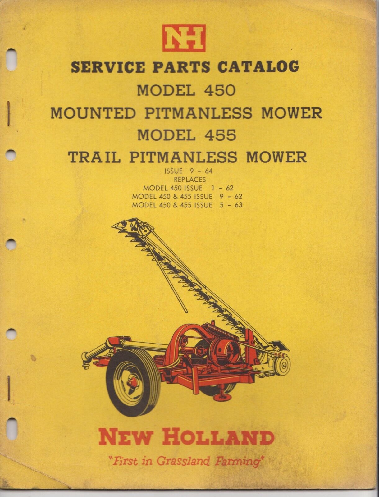 NH New Holland Service Parts Catalog Model 450 455 Pitmanless Mower - $18.90