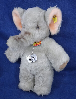"vintage STEIFF GRAY ELEPHANT 12"" toy GERMANY ear button/flag & chest tag"
