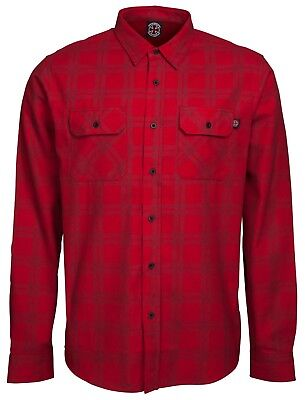 INDEPENDENT TRUCKS - T.C. Long Sleeve Check Shirt - Skateboard Shirt Large Red