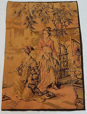 Vintage French Beautiful Chinese Women Tapestry Wall Hanging 88x127cm T269