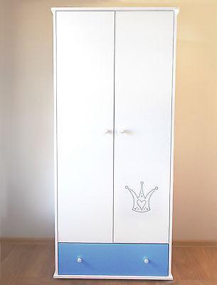 Krone Blau Schrank für Babyzimmer Schrank Krone BLAU Kleiderschrank