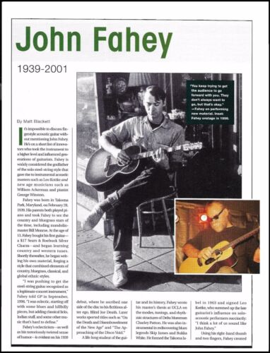 John Fahey 1939-2001 death tribute full page article 8 x 11 pin-up photo print