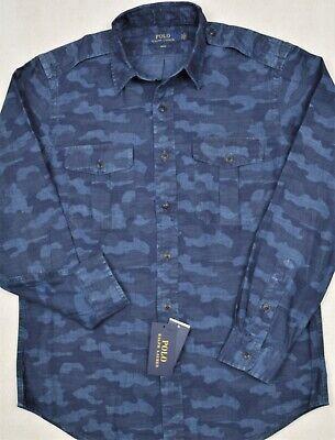 Polo Ralph Lauren Shirt Blue Indigo Camo Chambray Workshirt L XL NWT $188