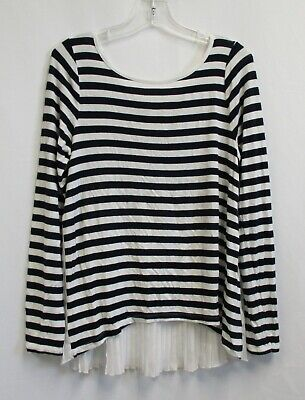 ABERCROMBIE KIDS Girls Blue & White Striped Long Sleeve Top Size 11/12