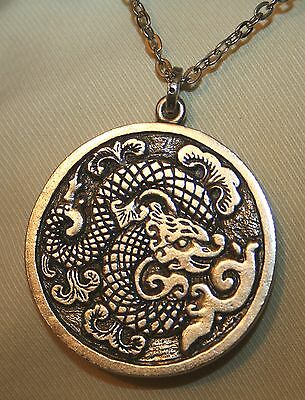 Handsome Etch Textured Oriental Dragon of Blessings Silvertone Pendant Necklace