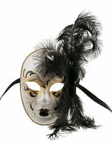masque de venise visage volto a plumes autruche dore noire masque venitien 1414 ebay. Black Bedroom Furniture Sets. Home Design Ideas