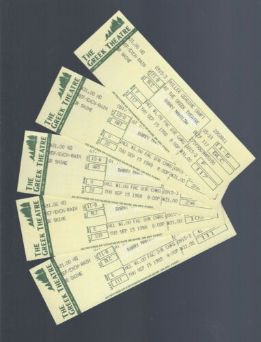 VINTAGE 1988 BARRY MANILOW FULL CONCERT TICKET LOT OF 5 @ GREEK THEATRE - SPT 15