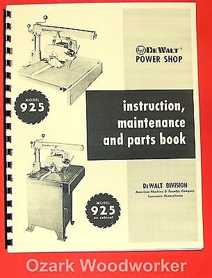 Dewalt 925 Radial Arm Saw Instructions Part Manual 0259