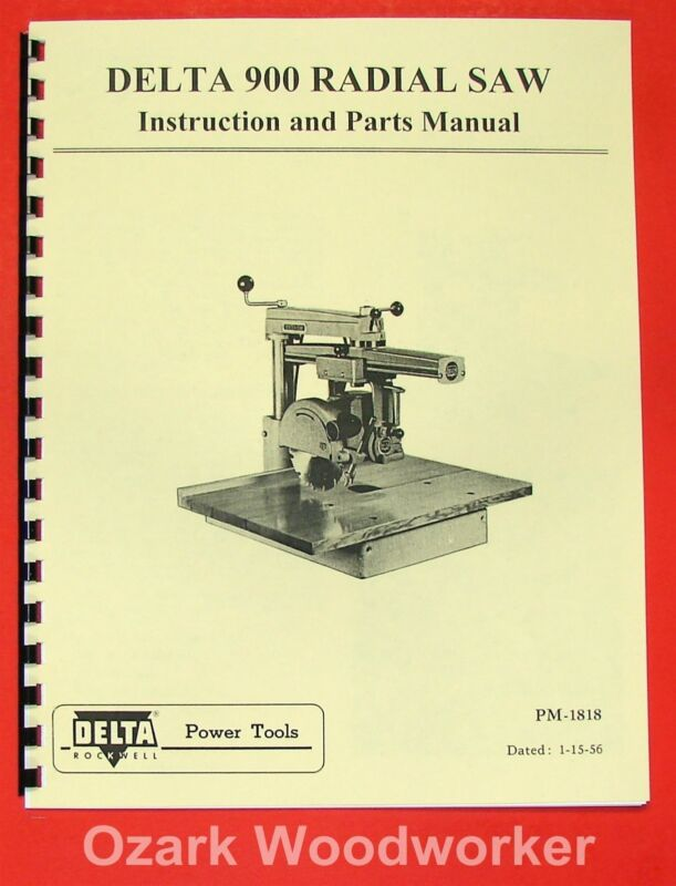 """DELTA-Rockwell Super 900 9"""" Radial Arm Saw Instructions & Parts Manual 0235"""