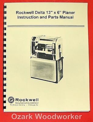 Delta-rockwell 13x 6 Wood Planer Operating Parts Manual 0246