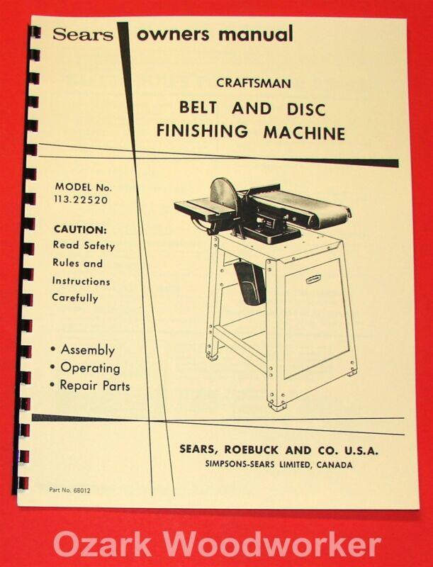 """Craftsman 6"""" Belt and Disc Sander 113.22520 Operation & Parts Manual 1045"""