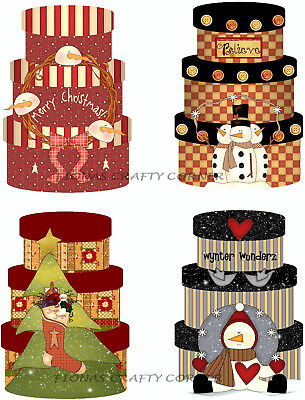8 CHRISTMAS SNOWMEN COUNTRY HAT BOXES HANG / GIFT TAGS FOR SCRAPBOOK PAGES (22)