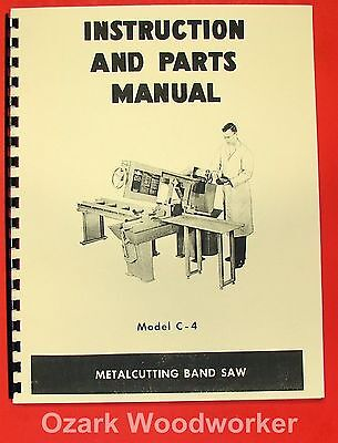 Doall Model C-4 Horizontal Band Saw Instruction Parts Manual C4 0269