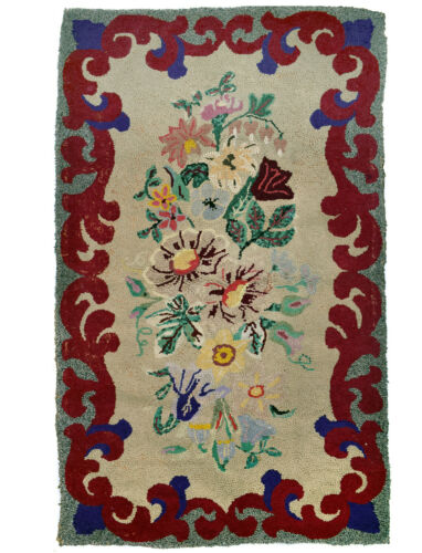 30 x 48 Primitive Antique Hooked Rug - Maine Estate - Flowers with Scroll Border