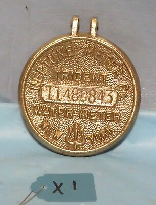 Vintage Brass Neptune Meter Co. Water Meter Lid-trident-new York-steampunk Art