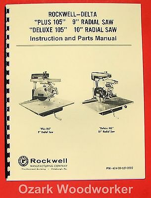 Delta-rockwell Plus Deluxe 105 9 10 Radial Arm Saw Operator Part Manual 0233