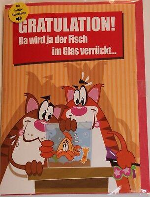 Geburtstagskarte Musik /lustig mit Sound u.Licht / Fisch-Katze/ A5 15x22cm *NEU*
