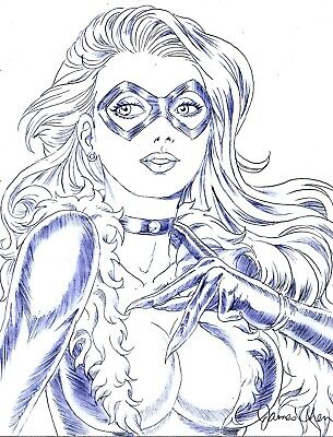 BLACK CAT ORIGINAL COMIC ART PENCIL SKETCH 2 ON CARD STOCK