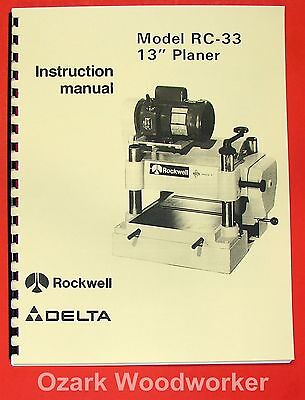 Delta-rockwell Rc-33 13 Planer Operator Parts Manual 0254