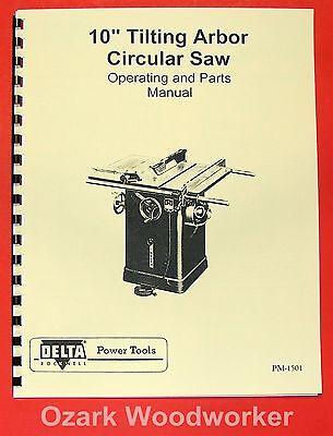 "DELTA-ROCKWELL 10"" Older Tilting Arbor Unisaw Operating & Parts Manual 0228"