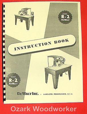 Dewalt R-2 Radial Arm Saw Instruction Parts Manual 0263