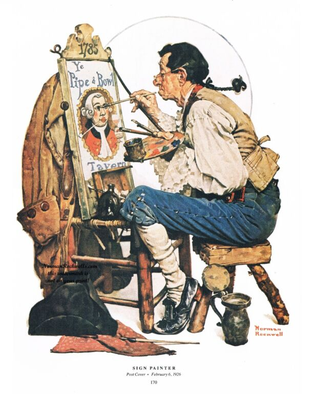 """Norman Rockwell print """"THE SIGN PAINTER"""" or """"YE OLD PIPE AND BOWL TAVERN"""" 11x15"""""""