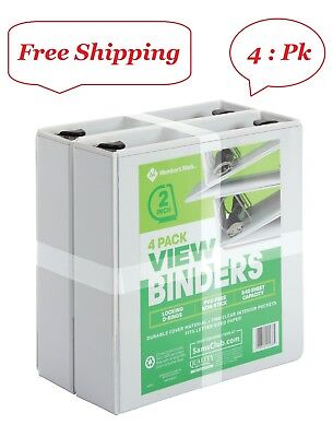 Members Mark 2 D-ring View Binder White 4 Pack