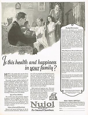 1920's BIG Vintage Nujol Laxative Medicine Family Art Print Ad