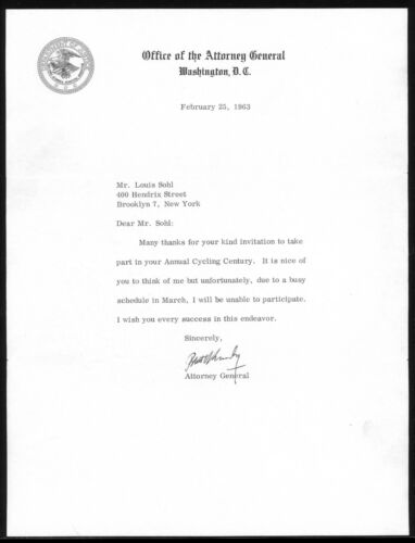 1963 Robert F. Kennedy RFK Autographed Typed Letter Signed