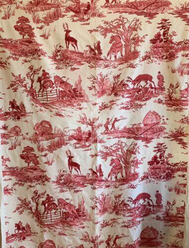 Beautiful 20th Century French Linen Scenic Toile Fabric (2614)