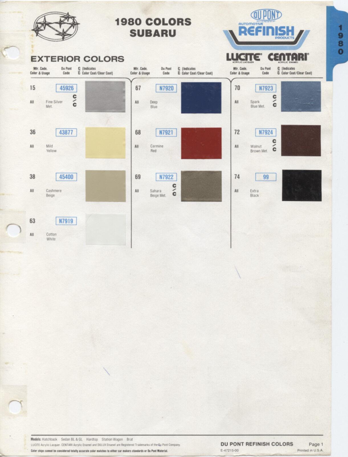 1980 Subaru Hatchback Sedan Hardtop Station Wagon Brat Color Paint Chips Chart