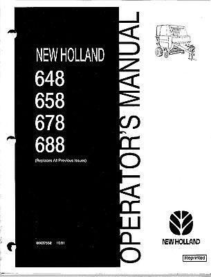 New Holland 648 658 678 688 Round Baler Operator Manual 86637552
