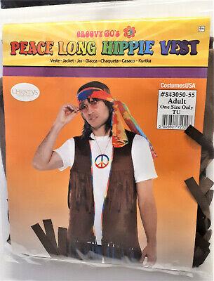 Herren Kostüm Hippie Weste Jacke Flower Power Peace Karneval Fasching - Hippie Weste Kostüm