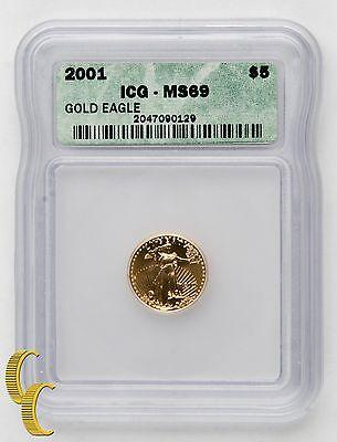 2001 1/10 Unze American Eagle Gold Münze Ms-69 Ausgewählten von ICG Gold Bullion ()