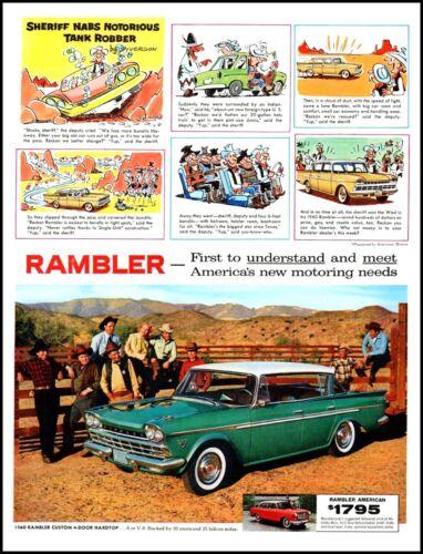 1960 Rambler Automobile hardtop western ranch comic art vintage print ad ADL12