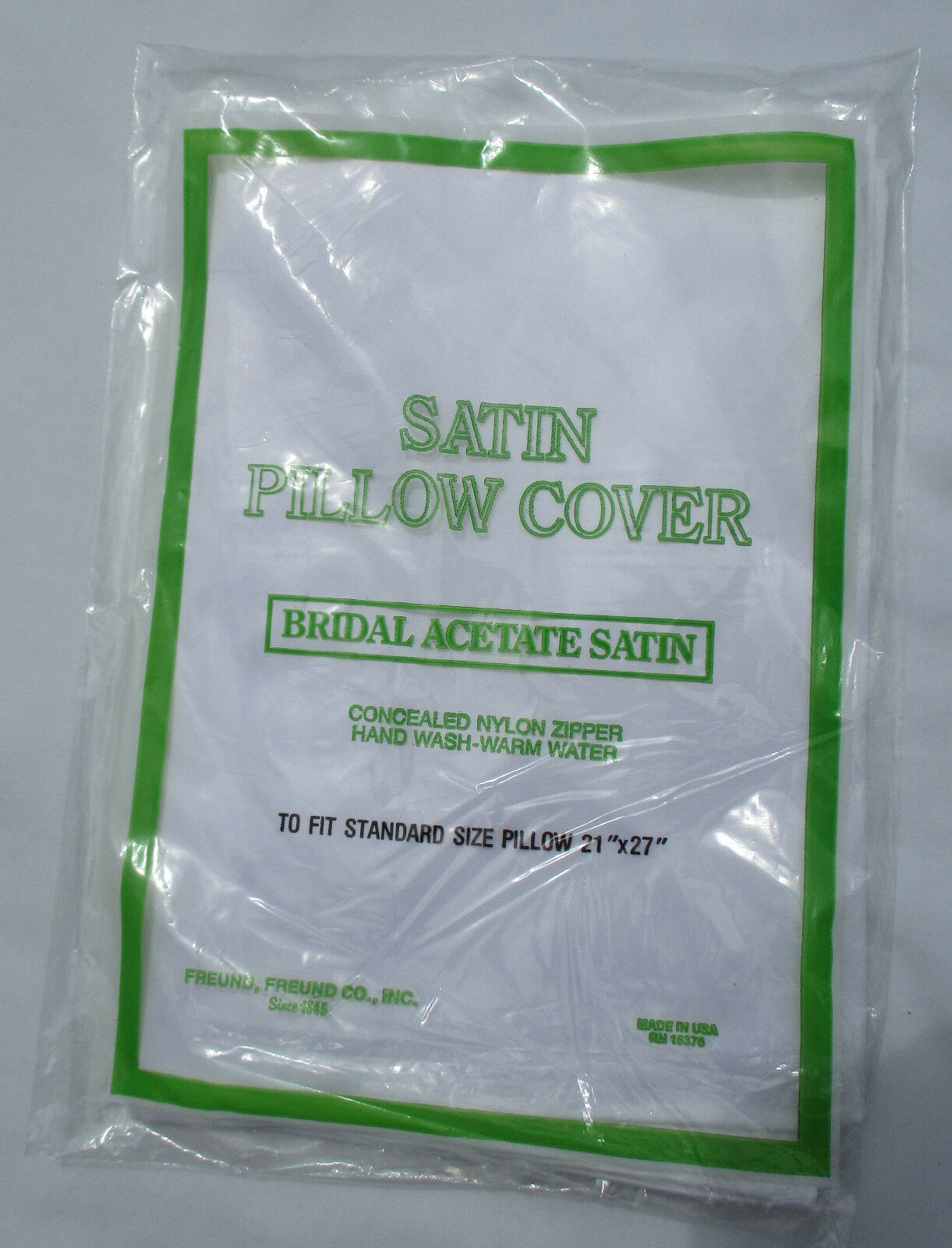 BRIDAL ACETATE SATIN PILLOW COVER WITH CONCEALED NYLON ZIPPE