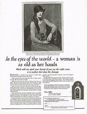 1920's BIG Vintage Jergens Lotion Lady Fashion Art Print Ad b