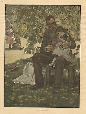 Father, Daughter, Family, Sunlight And Shadow, 1884 Hand Colored Antique Print](Father And Daughter Costumes)