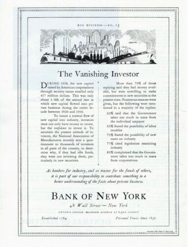 1939 ORIGINAL VINTAGE BANK OF NEW YORK MAGAZINE AD