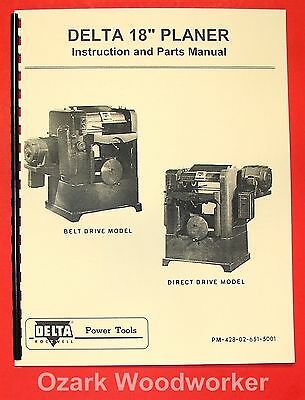 Delta-rockwell 18 Belt Direct Wood Planer Operators Part Manual 0231